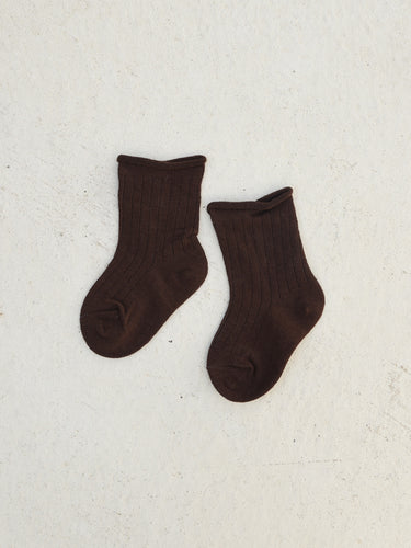 Tiny Trove Ribbed Socks Chocolate