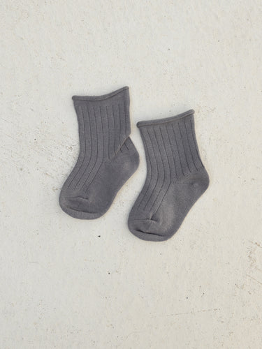 Tiny Trove Ribbed Socks Grey