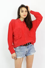 Oversized Red Silk Blouse