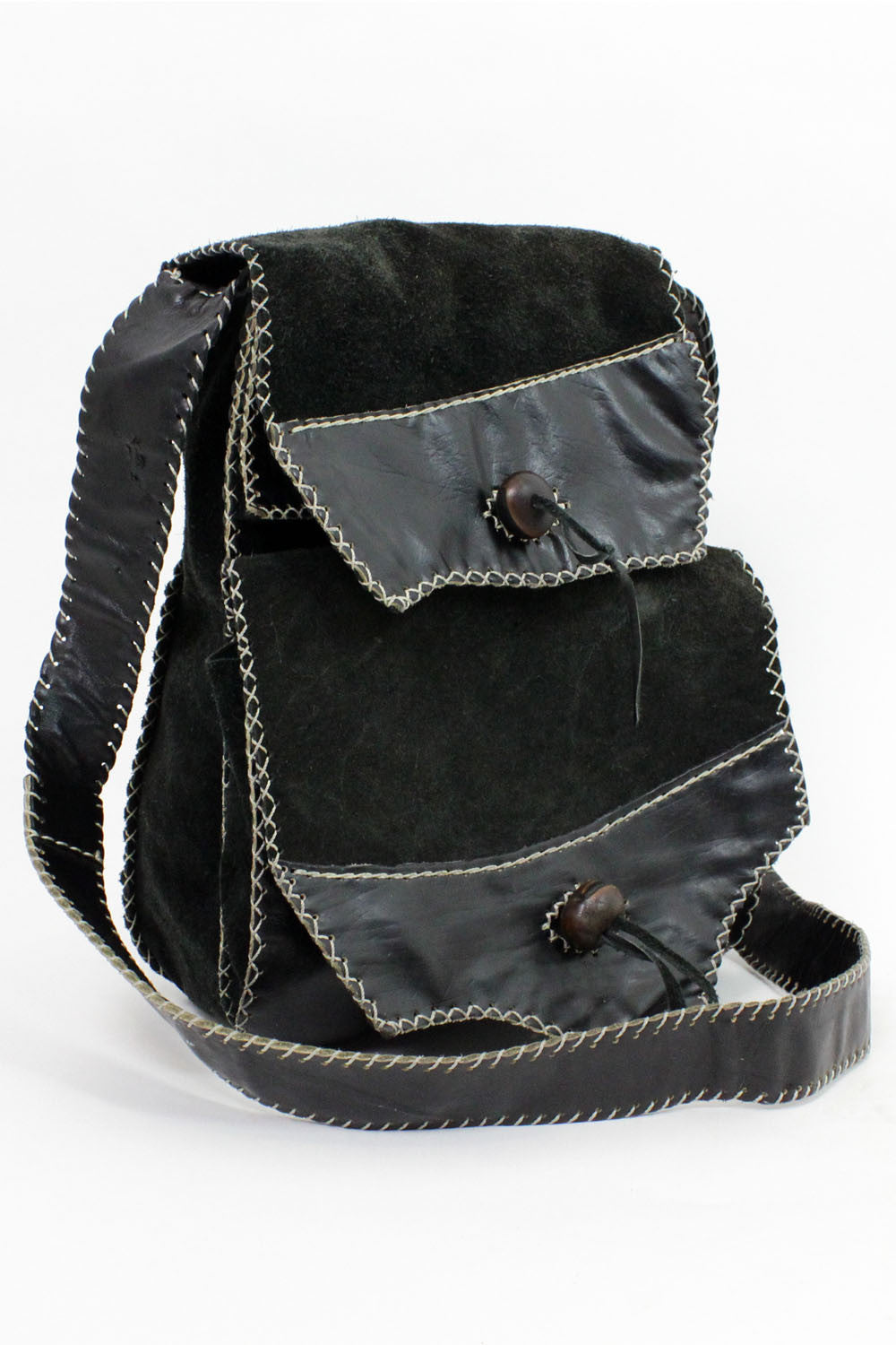 suede whipstitch festival bag