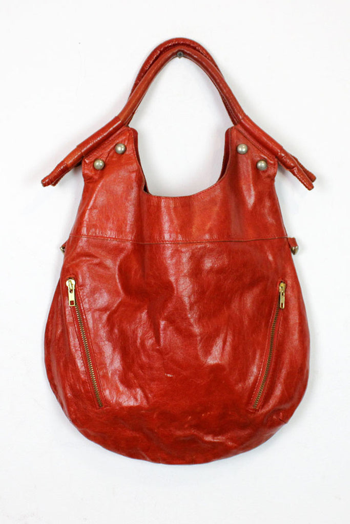 rusty red leather hobo