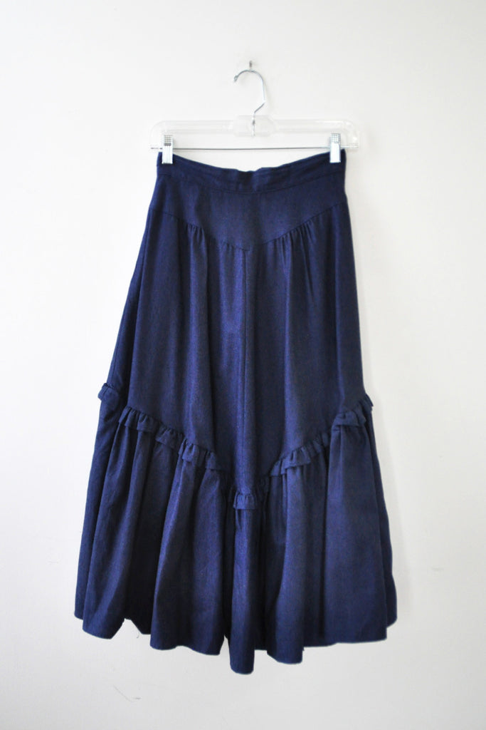 Denim Ruffle Skirt XS