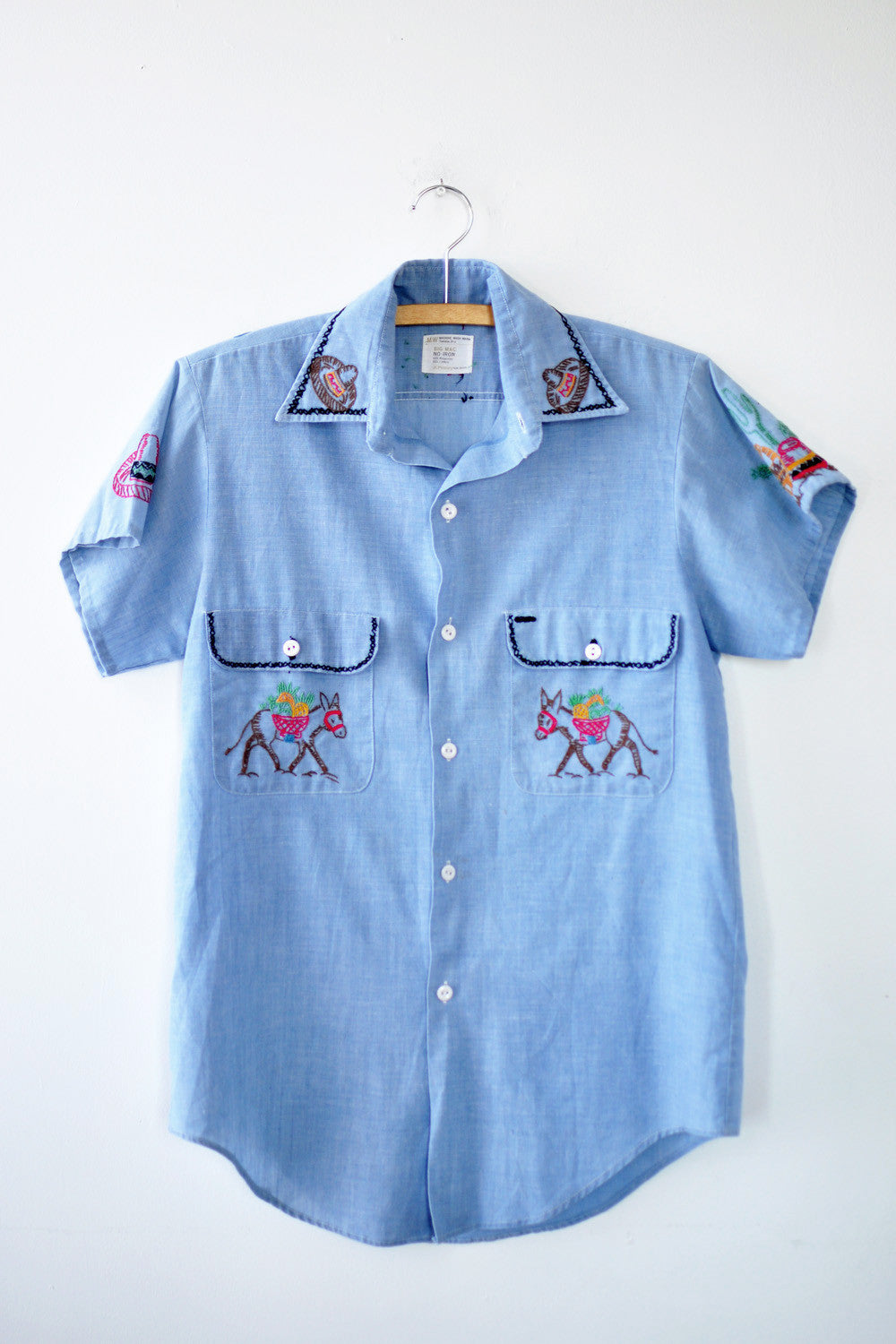 Chambray Embroidered Fiesta Blouse