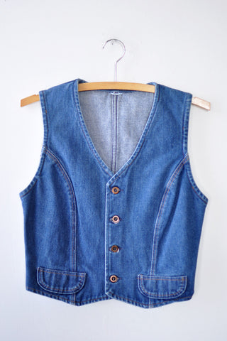 Cropped Denim Vest S