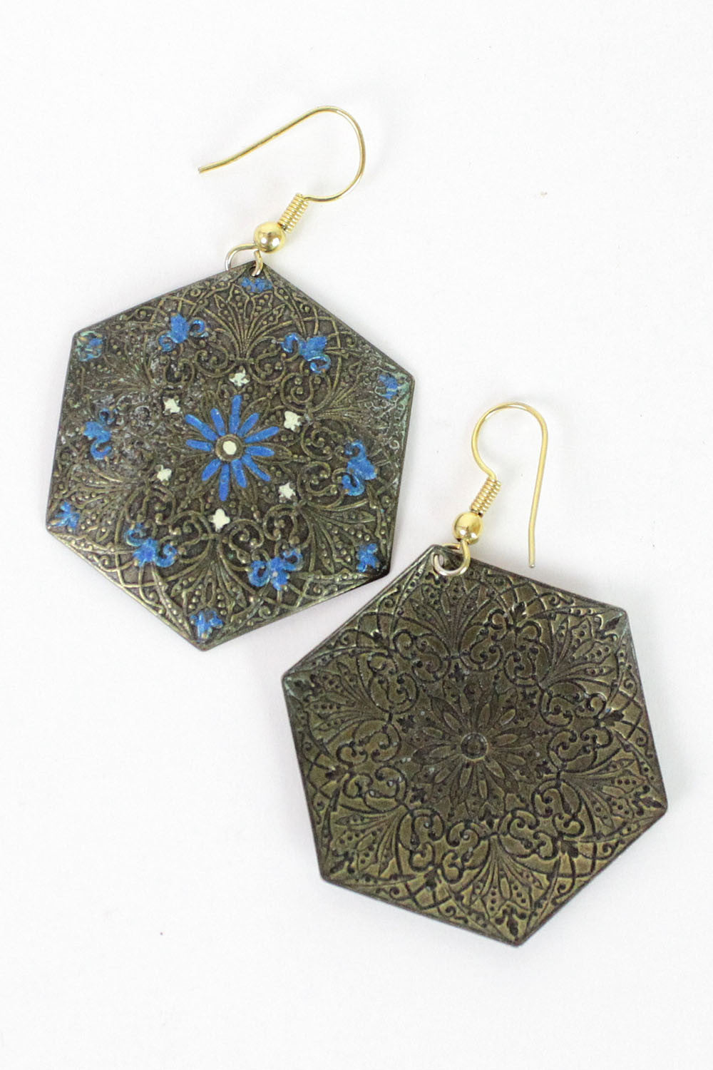 hexagon ethnic earrings