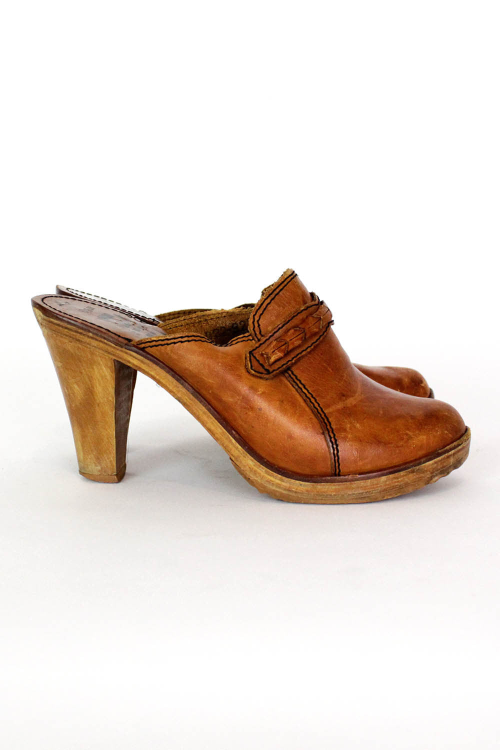 70s Leather & Wood Clogs 6.5