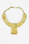 Mayan golden bib necklace