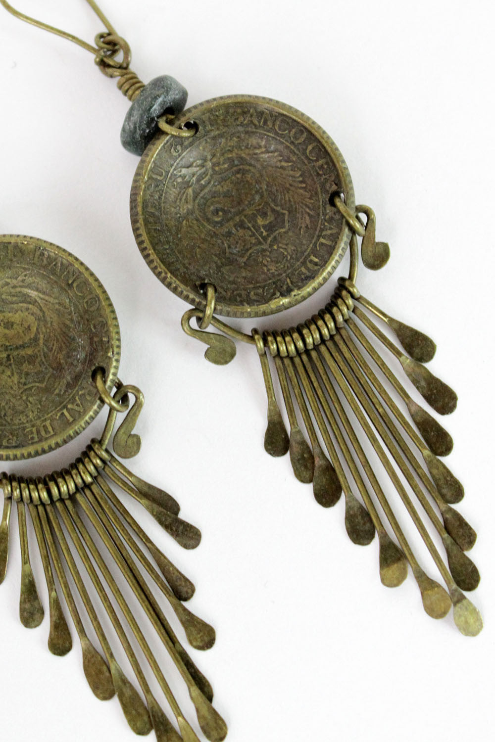 camel fringe earrings