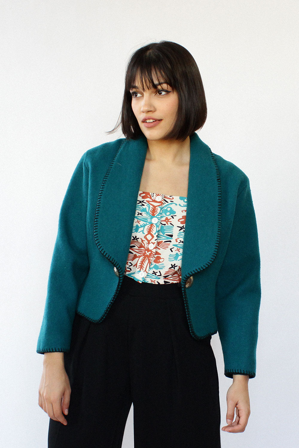 Teal Crop Blanket Jacket M
