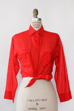 Pierre Cardin Semi-Sheer Scarlet Top S/M