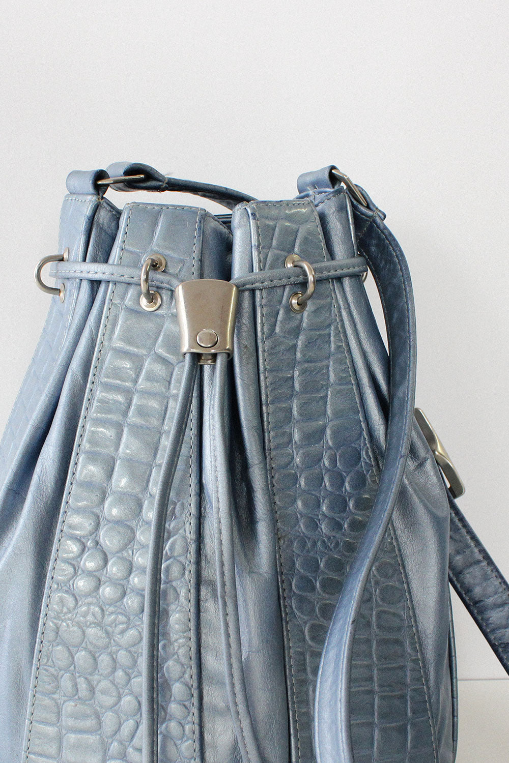 Blue Pearlescent Bucket Bag