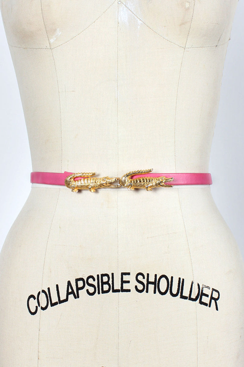 Golden Alligator Skinny Belt