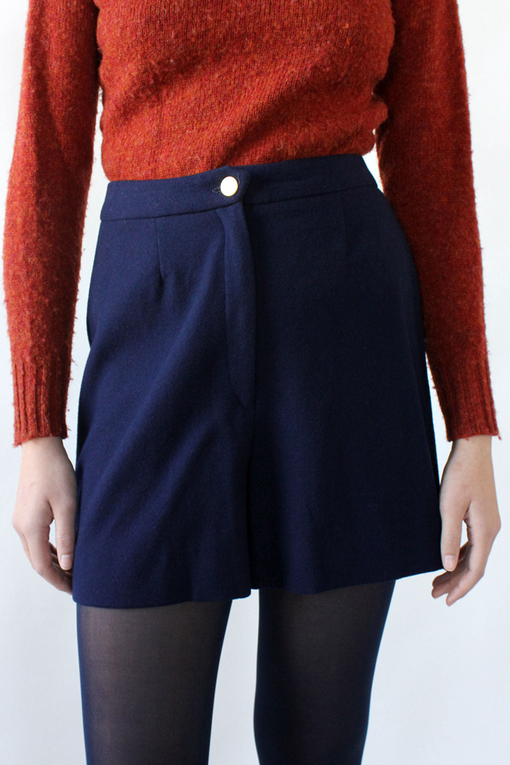 Navy Blue Woollen Shorts S