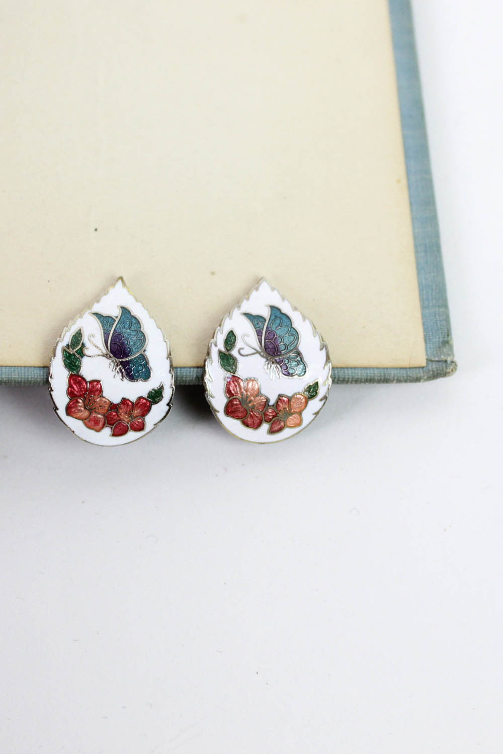 Cloisonne Leaf Earrings