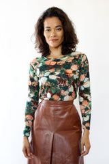 70s Botanical Knit Top M