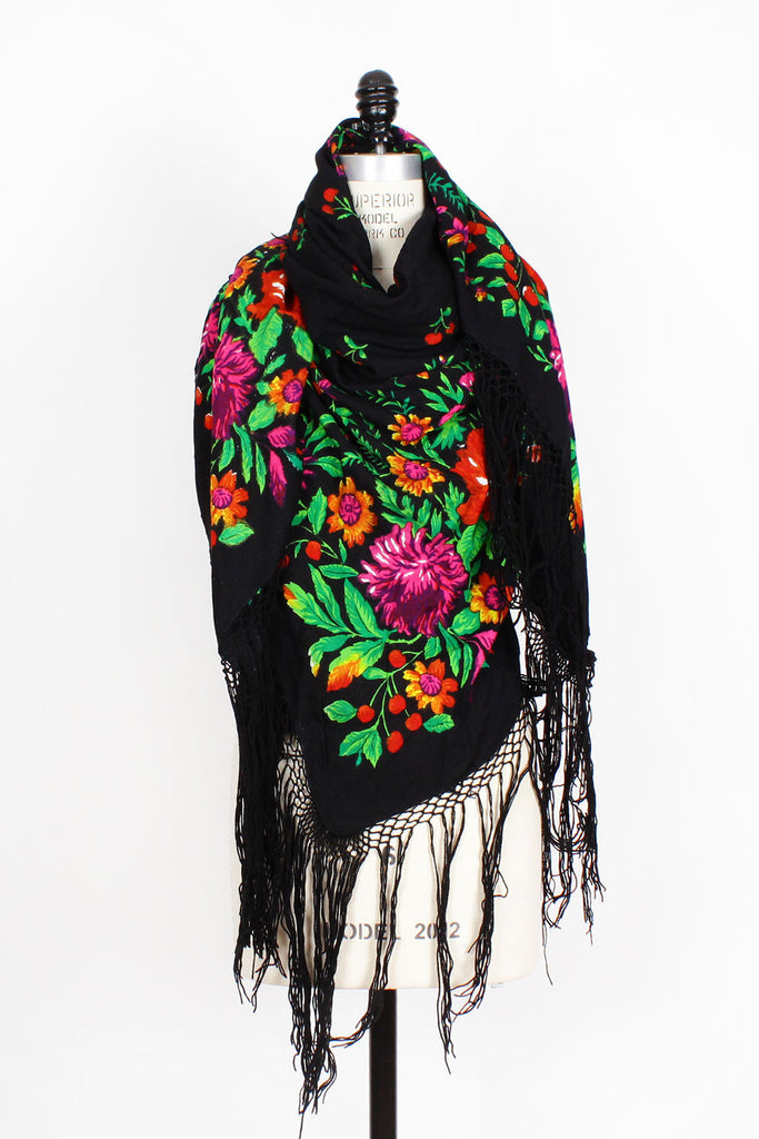 70s Black Floral Piano Shawl • XL
