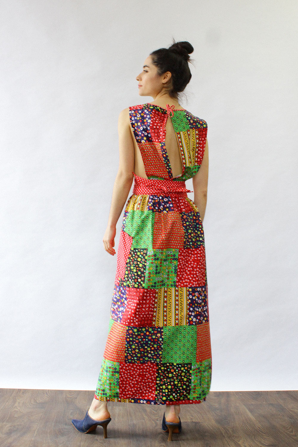 Patchwork Print Apron Wrap Dress
