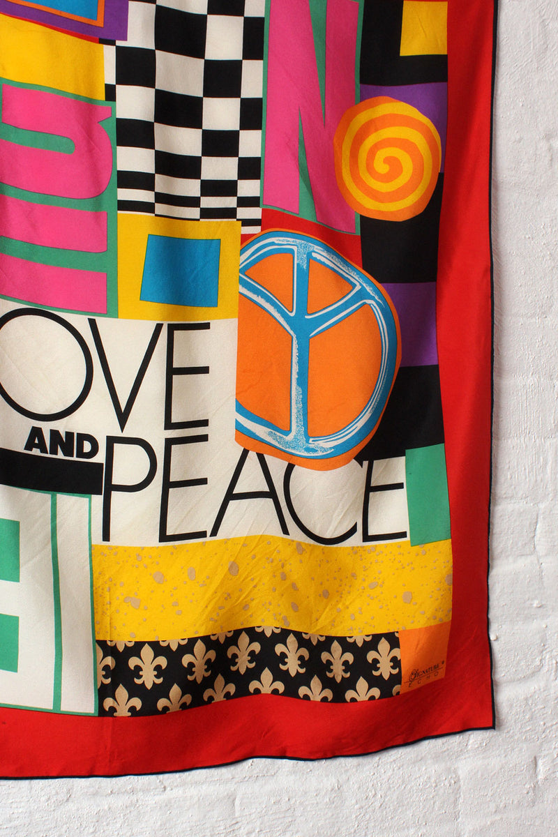Love and Peace Silk Collage Scarf