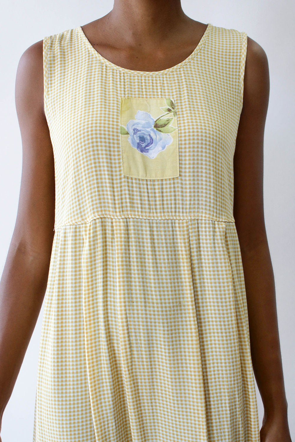 Butter Gingham Rose Dress S/M