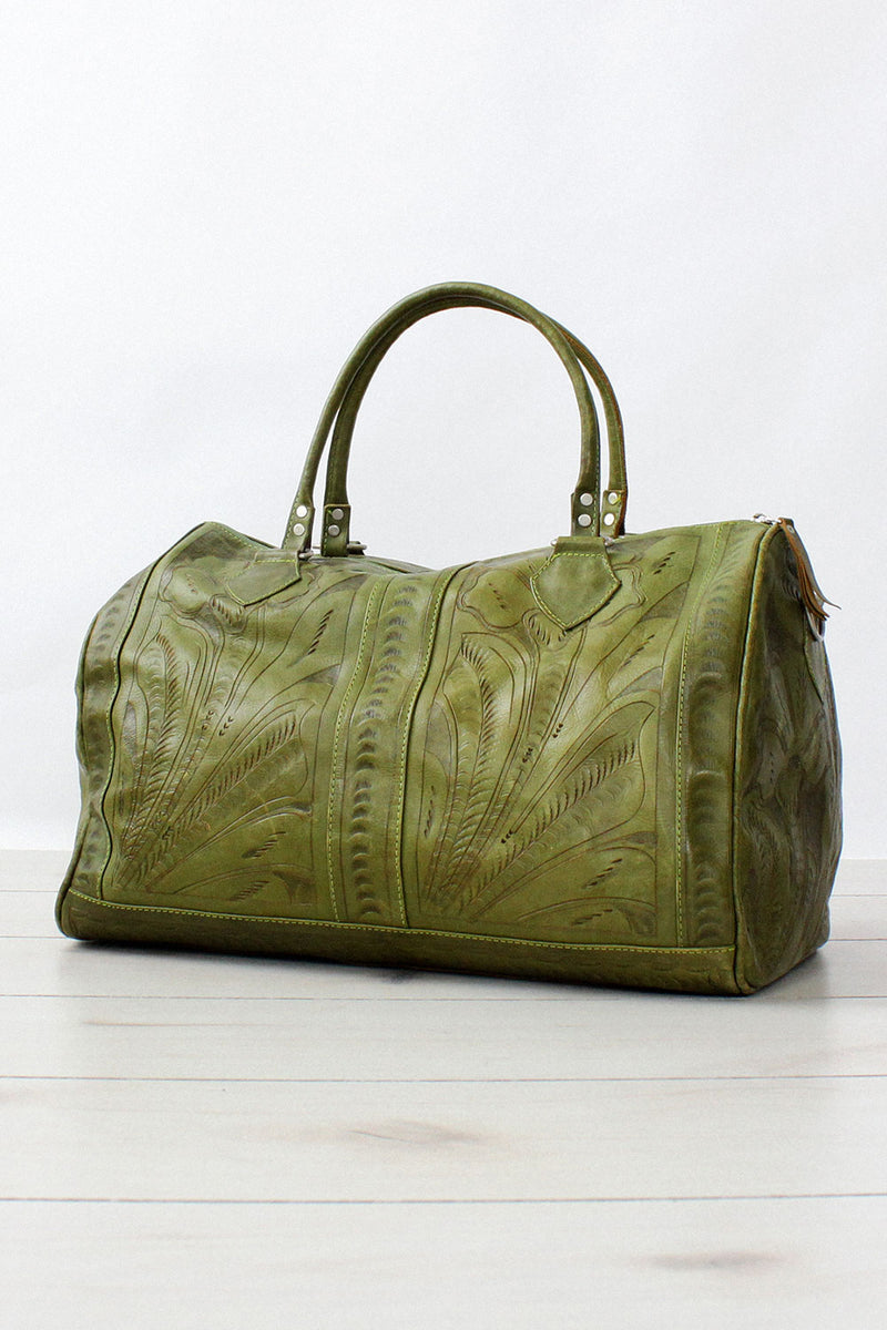 Moss Tooled Leather Weekender