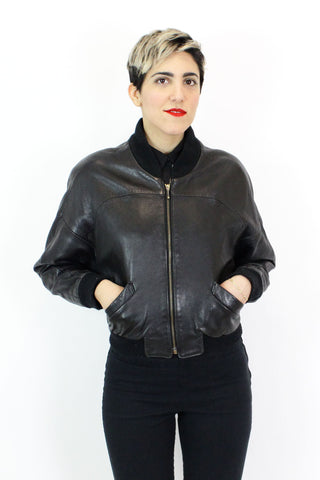 Buttery Leather Bomber Jacket S