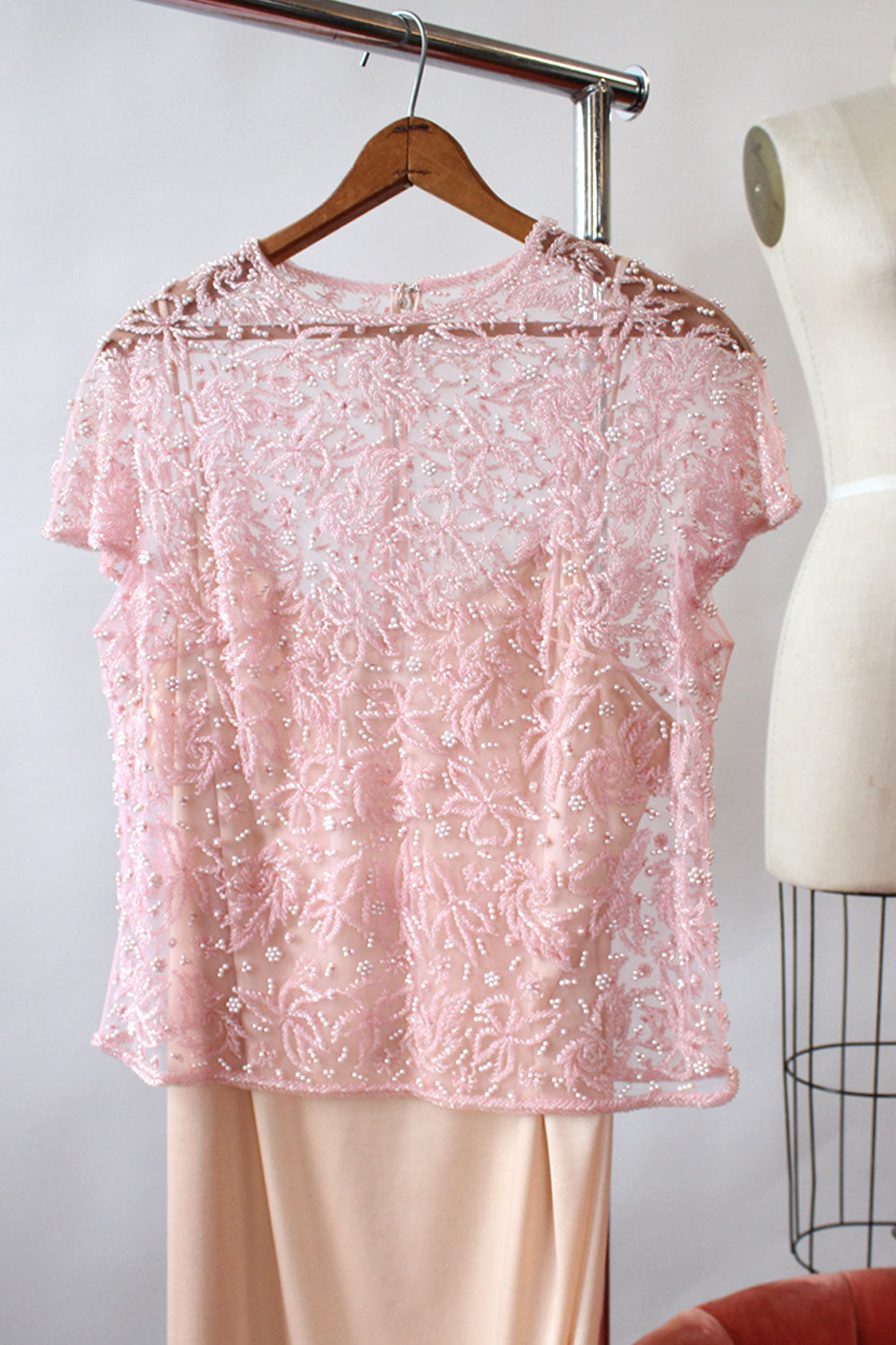 Crystallized Sheer Beaded Top S-L