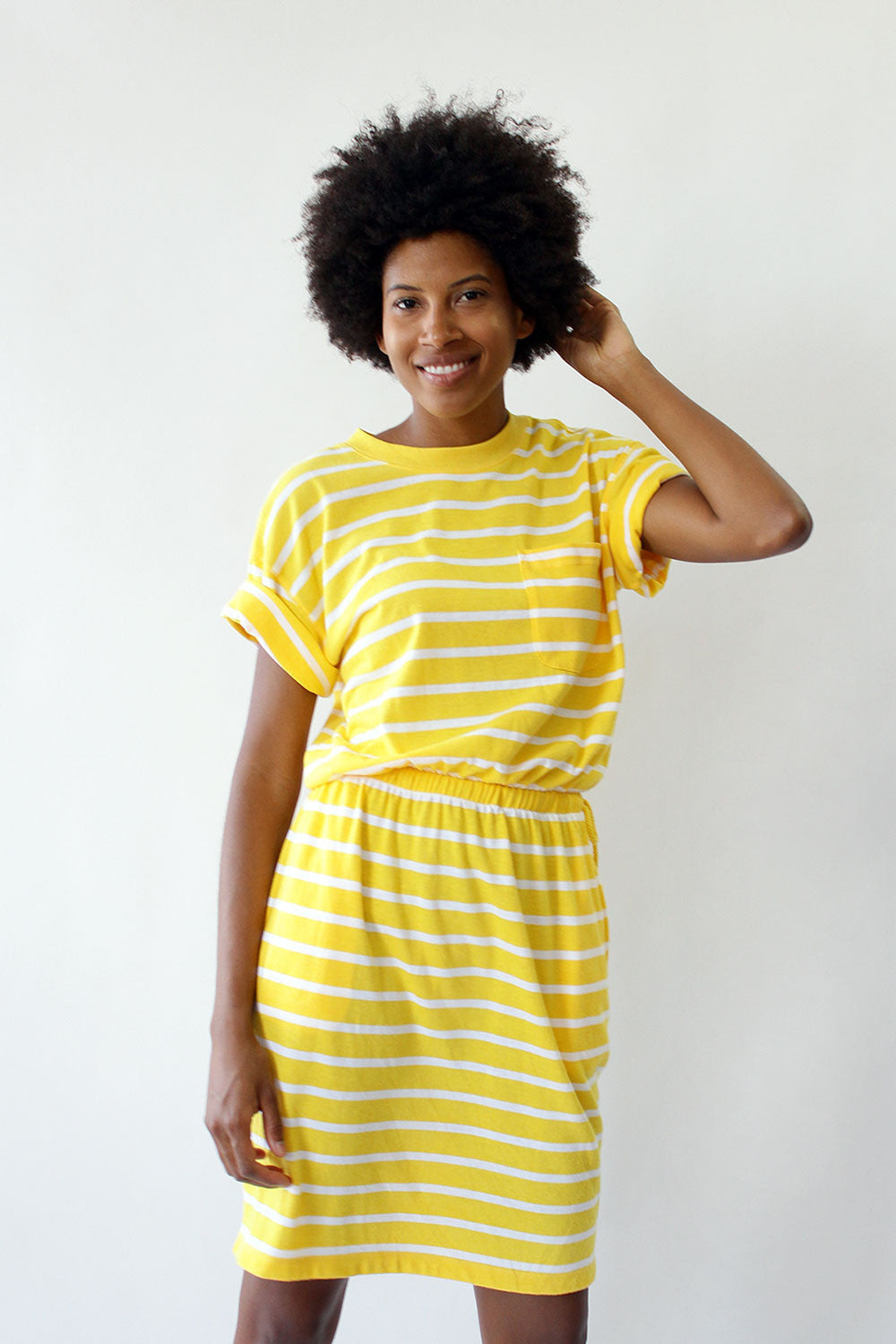 Sporty Lemon Drop Stripe Dress S/M