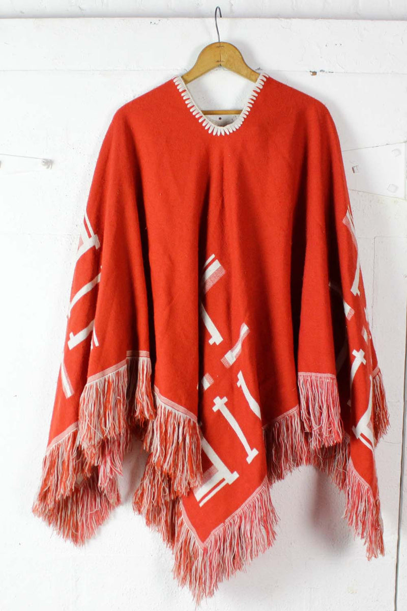 vintage orange poncho