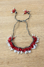 Red & White Bugle Bead Cluster Necklace