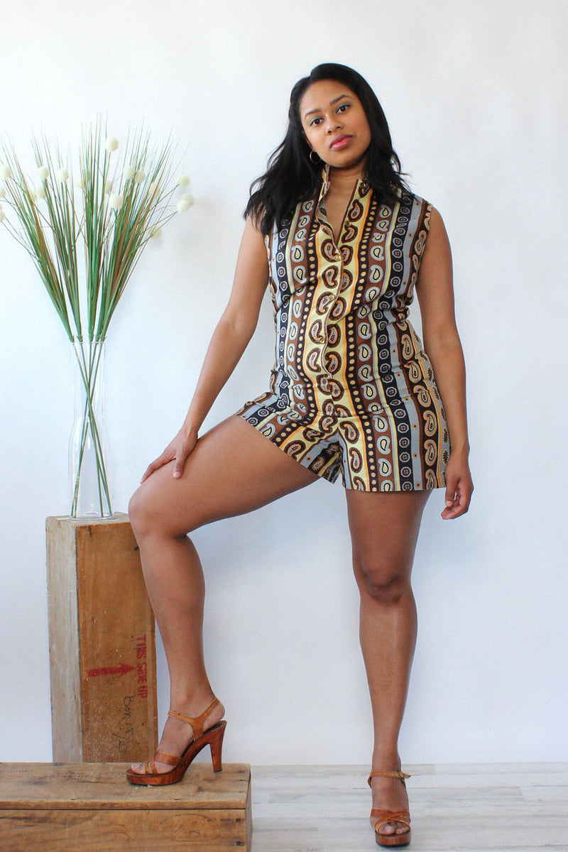 Earthy Paisley Cotton Romper M/L