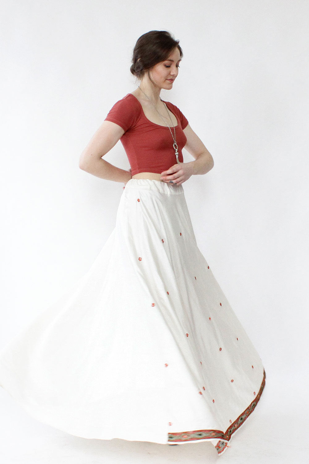 Whirling Embroidered Maxi Skirt