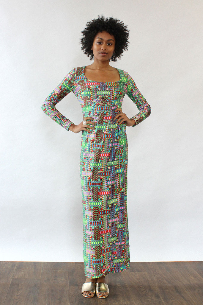 Technicolor Patterned Maxi Dress XS-M