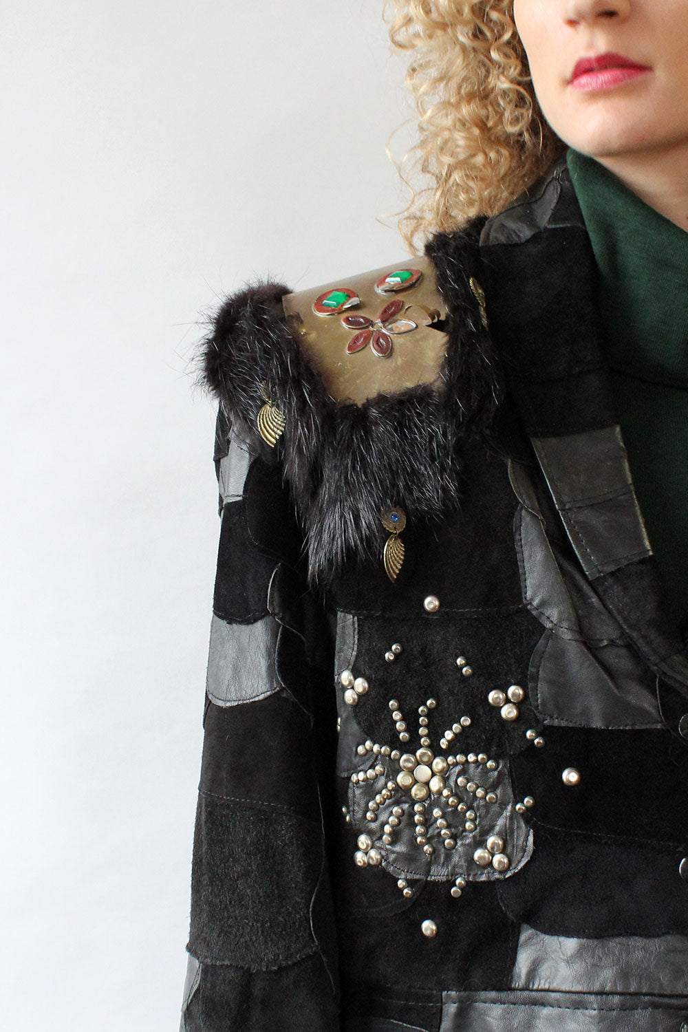 Embellished Warrior Leather Coat M