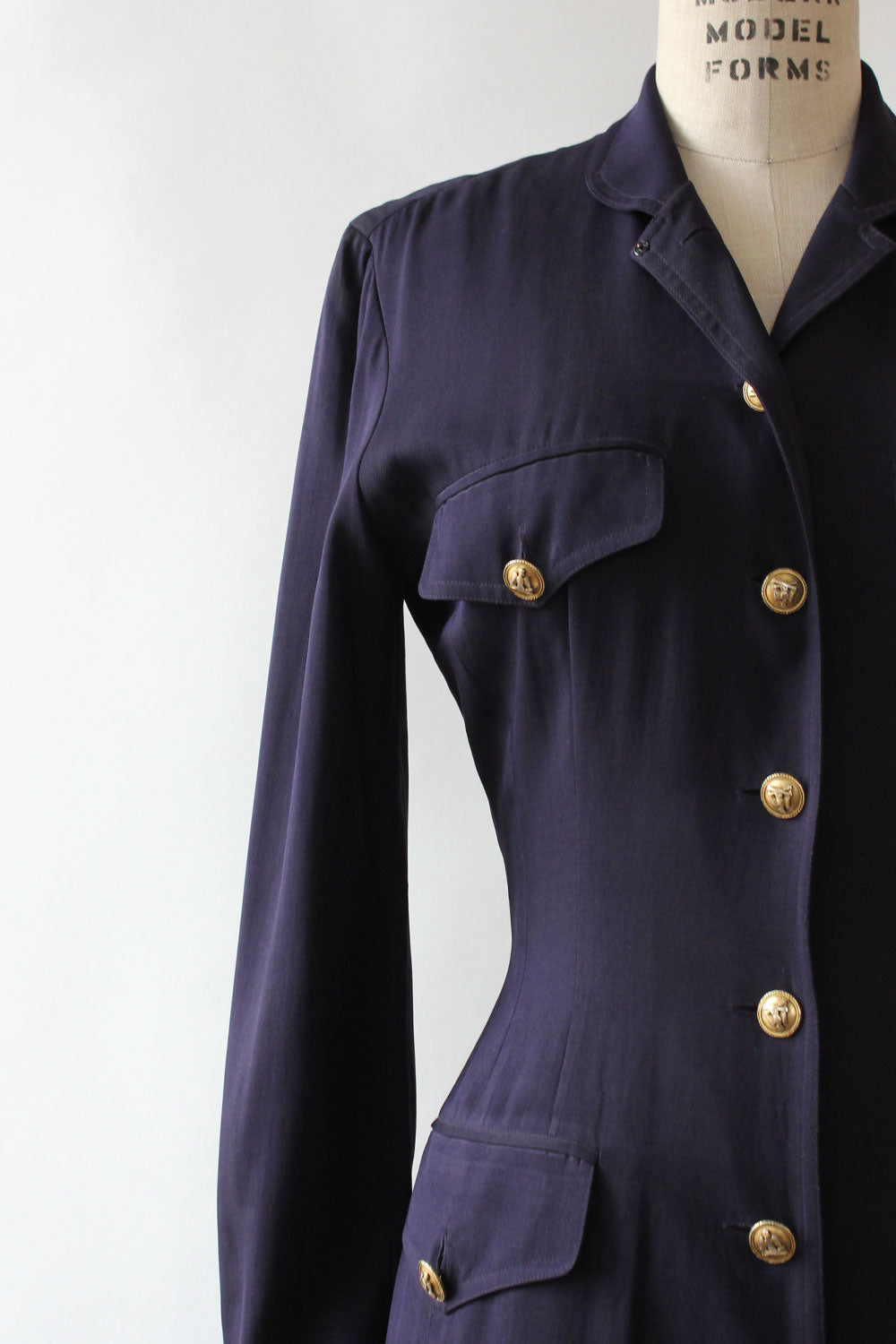 Dana Navy Button Dress S/M