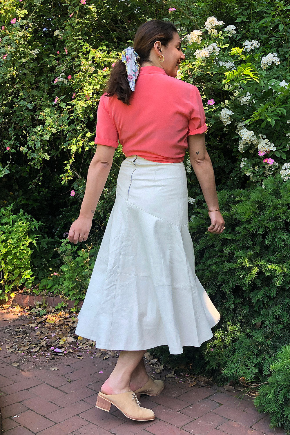 Blanc Leather Flare Skirt M
