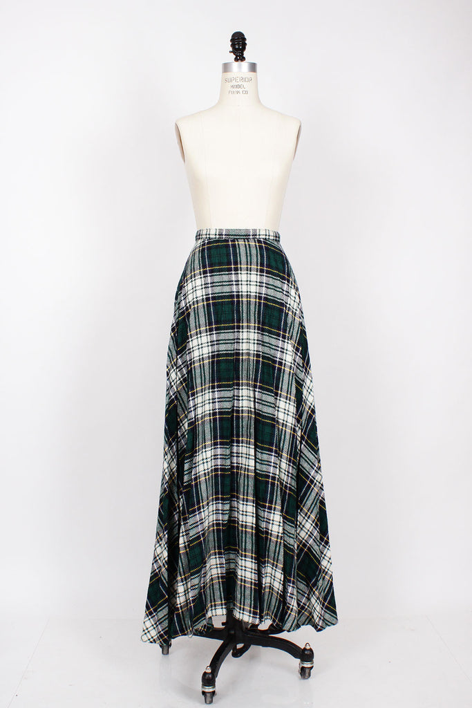 Tartan Pleated Maxi Skirt XS