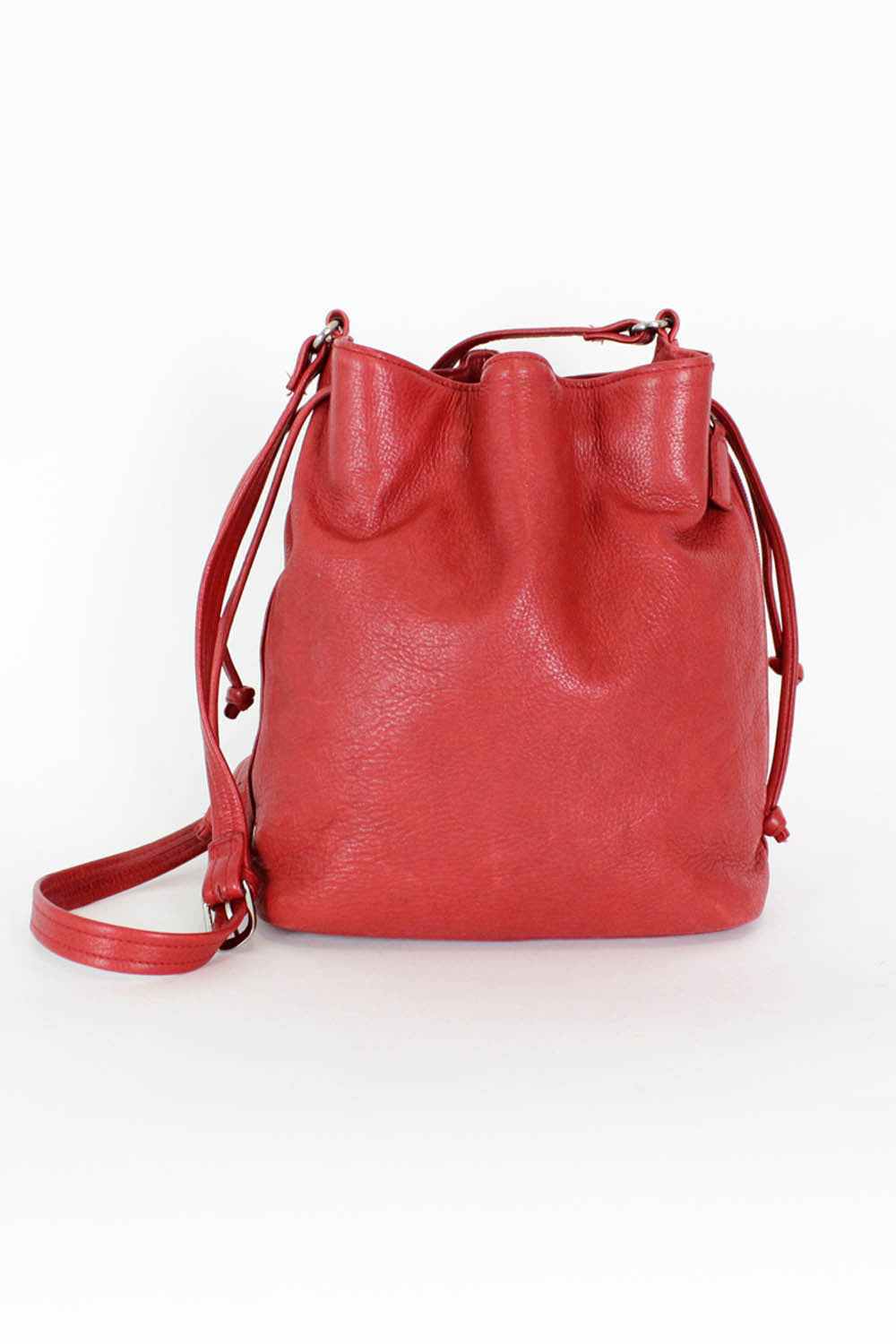 Ruby Red Leather Bucket Bag