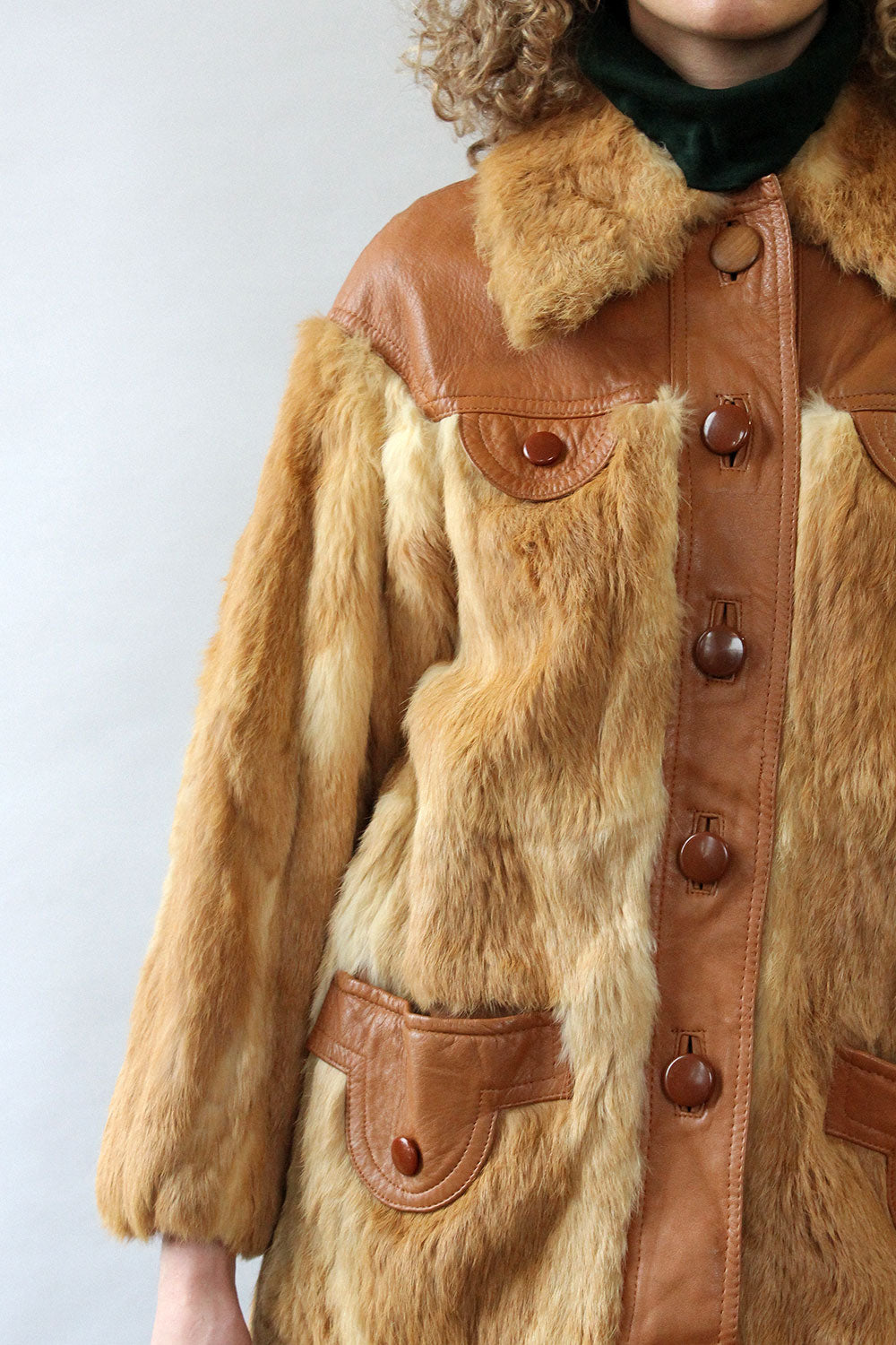 Oleg Cassini Honey Fur & Leather Coat M