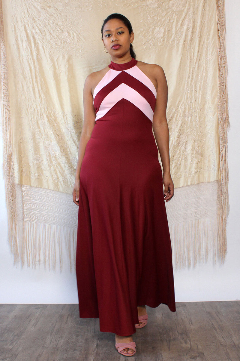 Raspberry Chevron Maxi Dress M