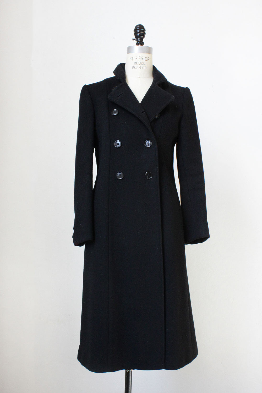 Black Wool Tailored Coat S