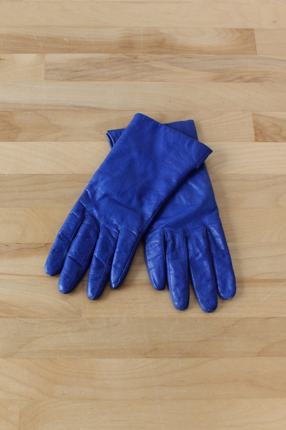 Cobalt Leather Gloves