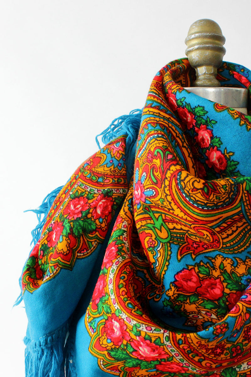 Electric Babushka Fringe Shawl