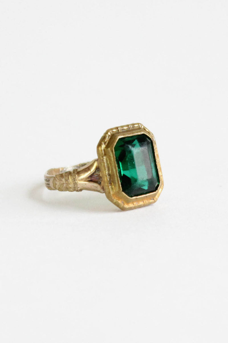 vintage green glass ring