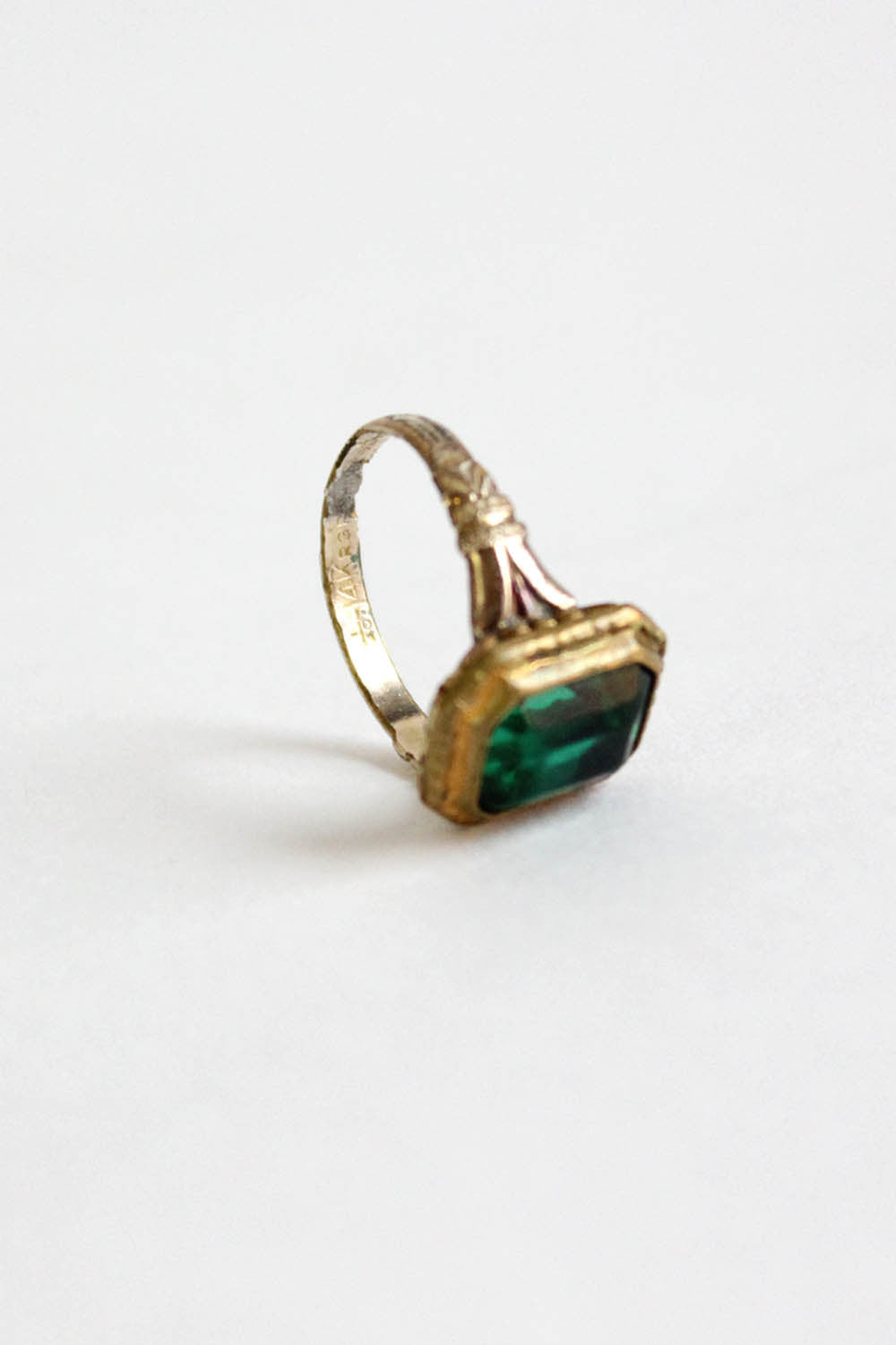 Rolled Gold Green Glass Ring