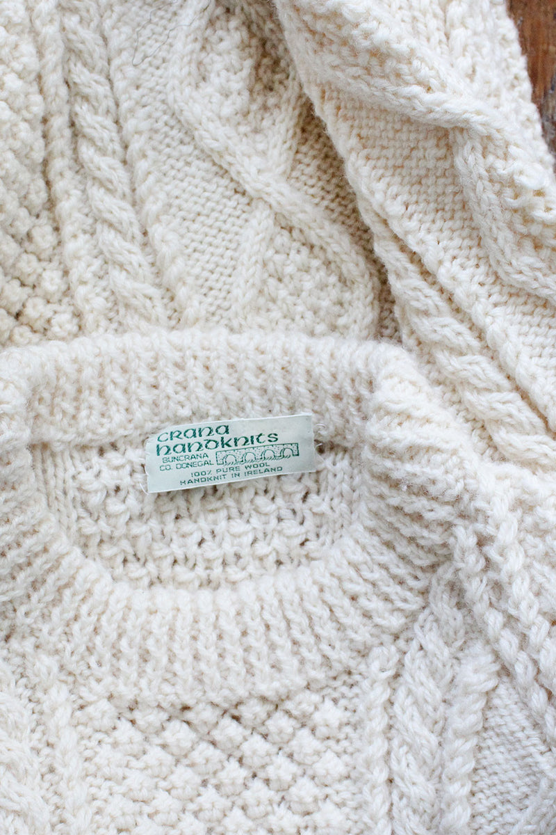 Irish Wool Handknit Sweater S/M