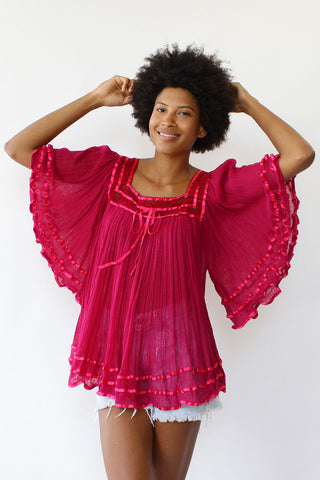 Magenta Angel Gauze Top