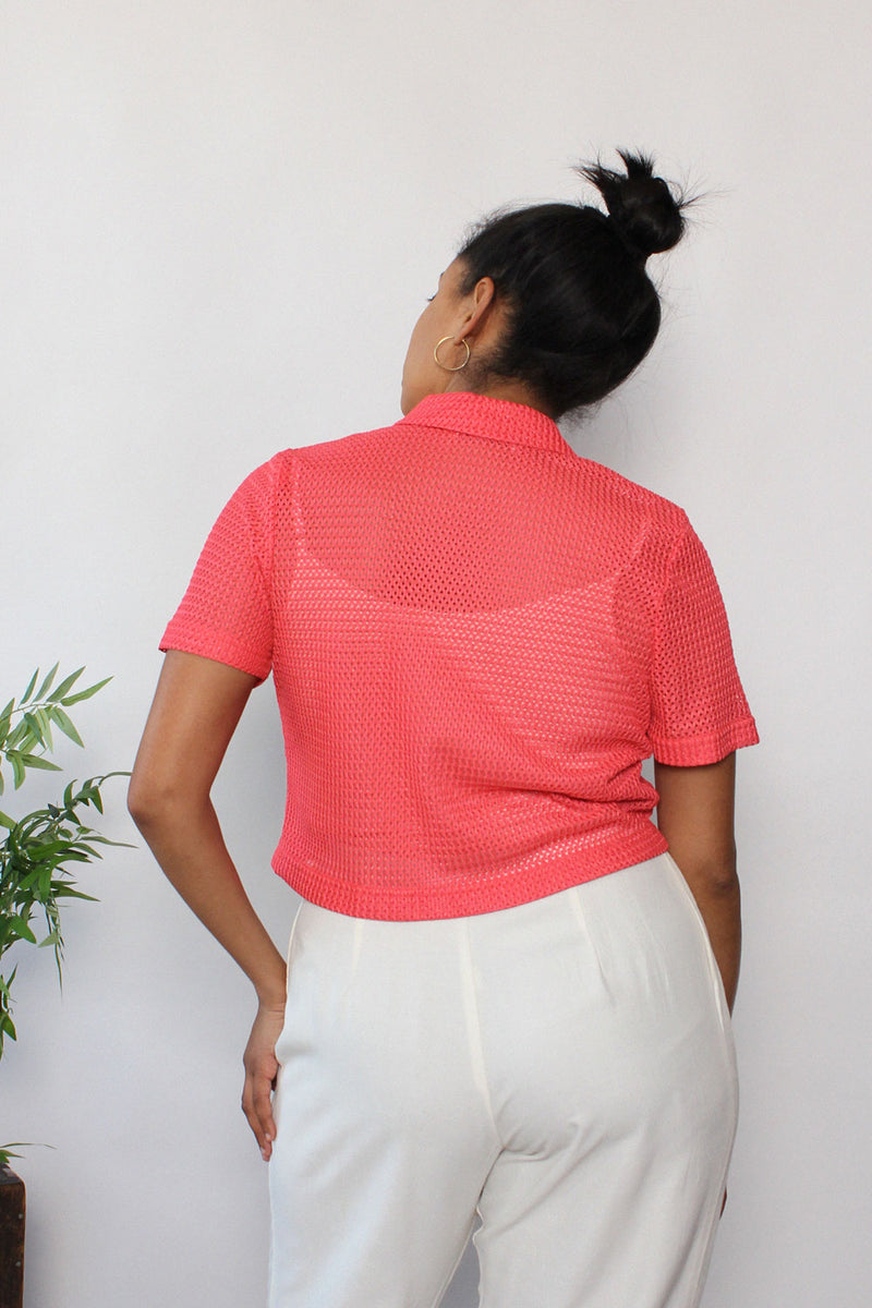 Coral Mesh Leaf Button Top M