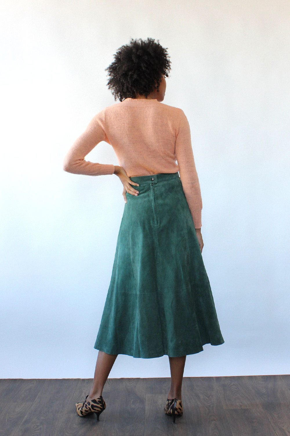 Olive Suede Midi Skirt M