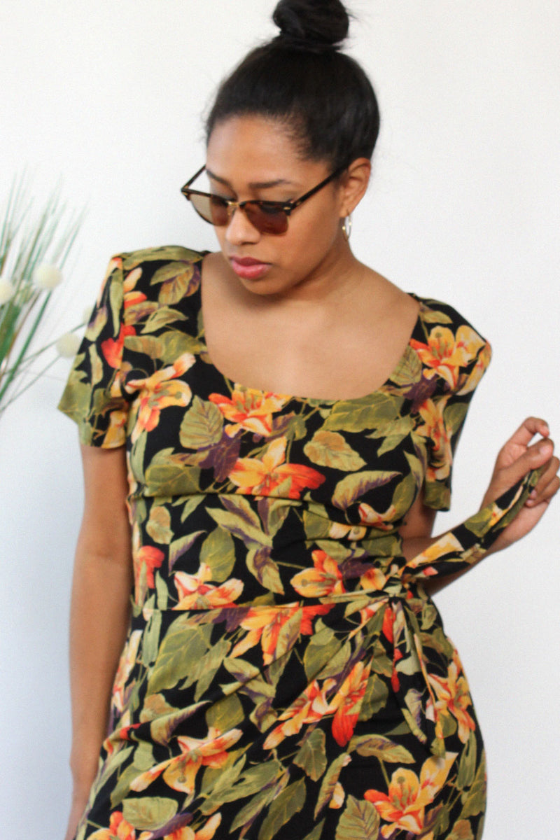 Tropical Print Swag Dress M/L