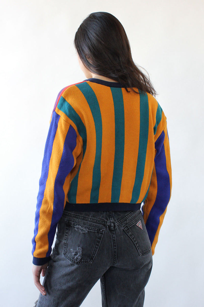Striped Cotton Crop Cardigan S/M